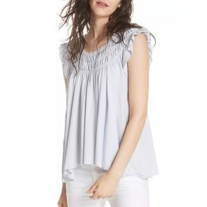 Free People Cloud Blue Small Ruffle Blouse Flowy
